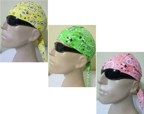 3 Assorted Paisley Skull Caps Bandanna Wraps with SWEATBANDS, Biker Skull Hat Caps Doo Rag DuRag Yellow, Lime Green and Pink