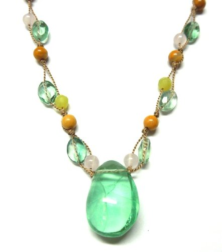 Green Fluorite Multicolor Handknotted Clusters Silk Necklace. 16