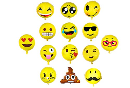 Emoji Balloon Happy Birthday Party - Set of 14 Pack Mylar Foil 18 Inch Helium Reusable Ballons For Congratulation Decoration Anniversary Festival Graduation Bouquet Gift Idea Engagement Celebration (Missile Balloons For Your Car compare prices)