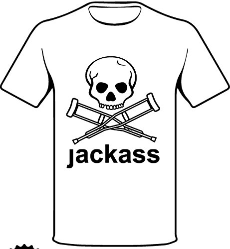 "Monkey Design - T-Shirt Con Logo Serie Tv ""Jackass"", Colore: bianca, Taglia: L"