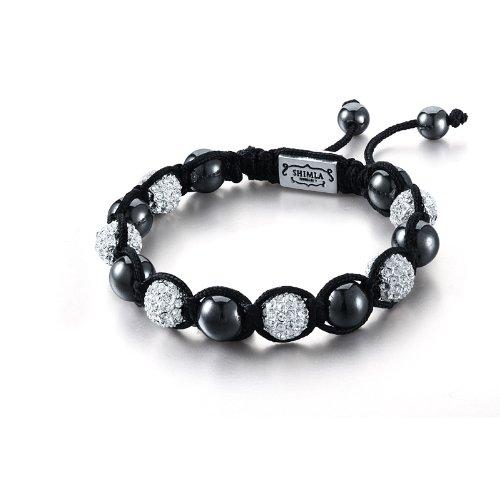Shimla Crystal Bead Bracelet Hematite Beads with Silver Plated White Cubic Zirconia Crystal Beads of 7-12cm