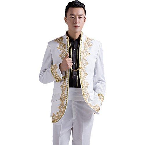 MYS Men's Royal Baroque Embroidery Tuxedo Suit Pants Set White Size 42R