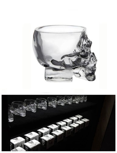 Moyishi Modern 3D Crystal Skull Pirate Shot Glass Drink Cocktail Beer Cup, Set Of 4
