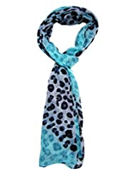 Blue Colour Tiger Print Stole For Girls By S.Lover