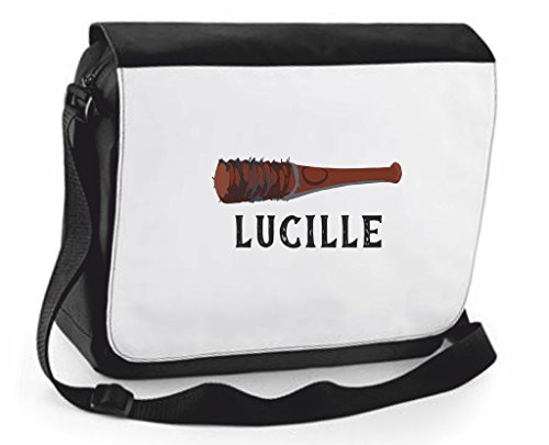 Lucille nome Top Bat avvertimento Zombie-Borsa a tracolla Messenger, Borsa a tracolla, borsa da viaggio, Black, Large (Nero) - SB-lucille-Black-L