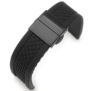 22mm Black Silicone One Piece Watch band, Deployment Clasp for Sport Watch, PVD Black B