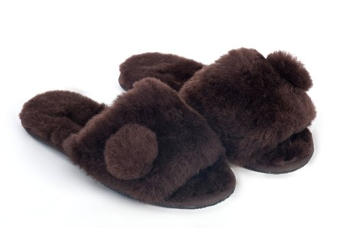 Cheap Sheep Touch Women's ACACIA Australian Sheepskin Slippers Open Toe Chocolate (B009M801X2)