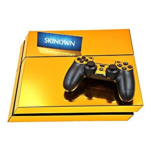 SKINOWN® PS4 Skins Golden Skin Gold Sticker Vinly Decal Cover for Sony PS4 PlayStation 4 Console and Controller