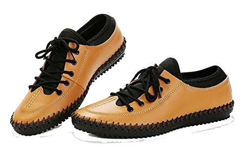 SONGYUNYAN All'aperto e Casual in pelle traspirante morbido a mano moda Sport maschile scarpe mocassini , yellow , 43