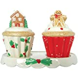Westland Giftware Ceramic Salt and Pepper Shaker Set, 3.25-Inch, Holiday Cupcakes, Set of 2