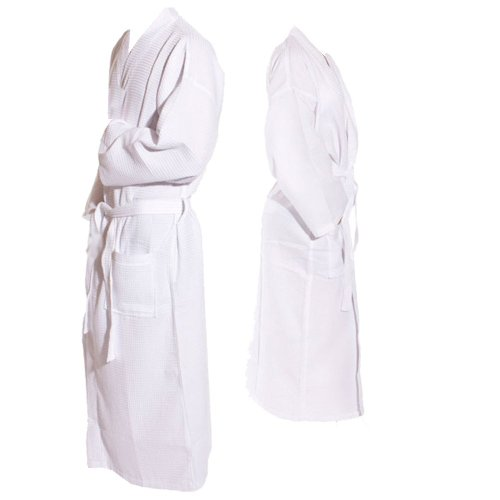 Monogrammed Bathrobes, Cotton Waffle Long White Plus Size Xxl, Calf Length Robes front-964596