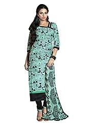 Prafful Sky Blue Chanderi Cotton Beautiful Unstitched Dress Material