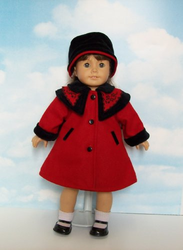 Red Wool Coat and Coordinating Black Velvet Hat. Fits 18 inch Dolls