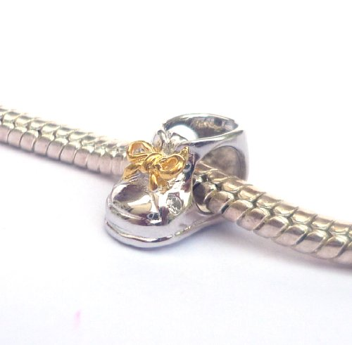 925 Sterling Silver and Gold Plated Baby Bootie Bead Charm for Bracelets