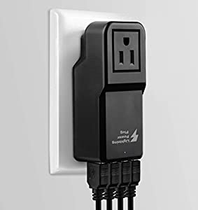 USB Wall Charger - 4 USB ports plus Outlet Portable Travel Charger For iPhone 6 Plus, iPad, Samsung Galaxy S6 Edge, Tab-Black