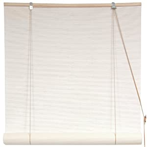 """Oriental Furniture Simple Affordable Quality - 6 ft. White Bamboo Matchstick Roll Up Window Blinds - Choose 24"""", 36"""", 48"""", 60"""", or 72"""" Wide at Sears.com"""