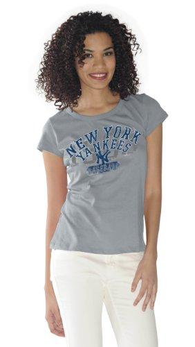 MLB Women's New York Yankees Round Neck Tee (Grey,