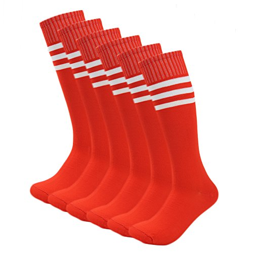 Fasoar Men's Women's Knee High Stripe Football Sports Socks Pack of 6 Red Christmas gift,6 to 11 (Red Football Socks compare prices)