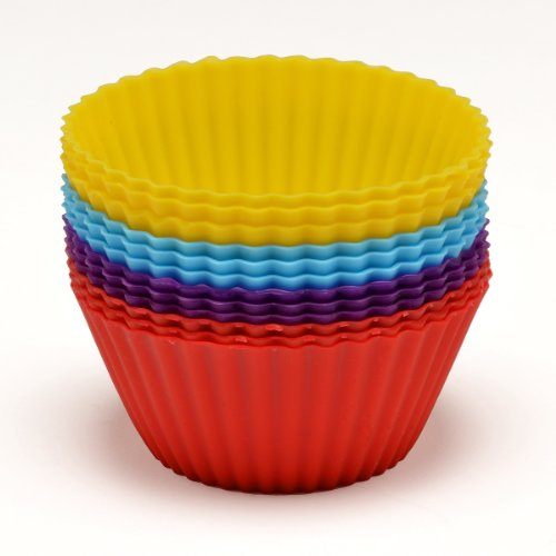 Sorbus® Silicone Baking Cups - Set of 12 Reusable Cupcake Liners - Food Grade Silicone Non-stick Bakeware - Comes in 6 Vibrant Colors