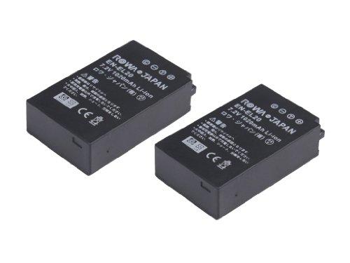 純正充電器対応2個セットニコン Nikon 1 J1 J2 J3 S1 COOLPIX A の EN-EL20 互換 バッテリーロワジャパン社名明記のPSEマーク付