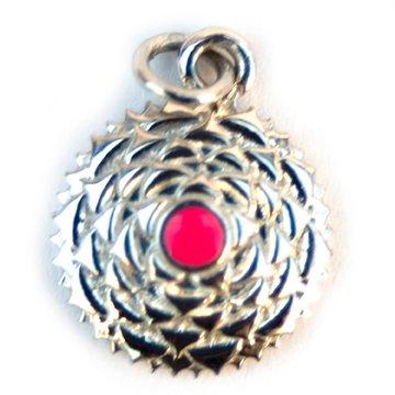 Sterling Silver Charm Crown Chakra Pink Enamel 7th