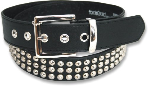 "Leather 3 Row Conical Studded Stud Black Belt Medium (32"" - 36"")"
