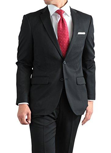 秋冬 メンズ 仕事 スタンダード 2ツボタン ビジネス スーツ ブラック・ピンストライプⅡ 体型:AB体 5号