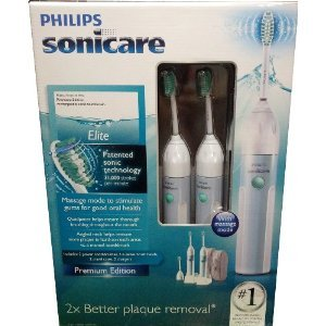 Philips Sonicare CleanCare HX5910 Power Toothbrush with Quadpacer ***Twin Pack*** (2 Handles, 3 Standard brush heads, 2 Charger bases, & 2 Travel cases) PREMIUM EDITION