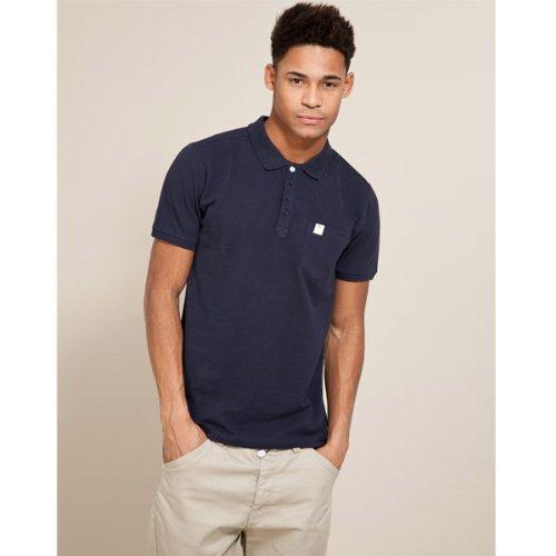 Fabric Pique Polo T-Shirt - Dark blue - Mens
