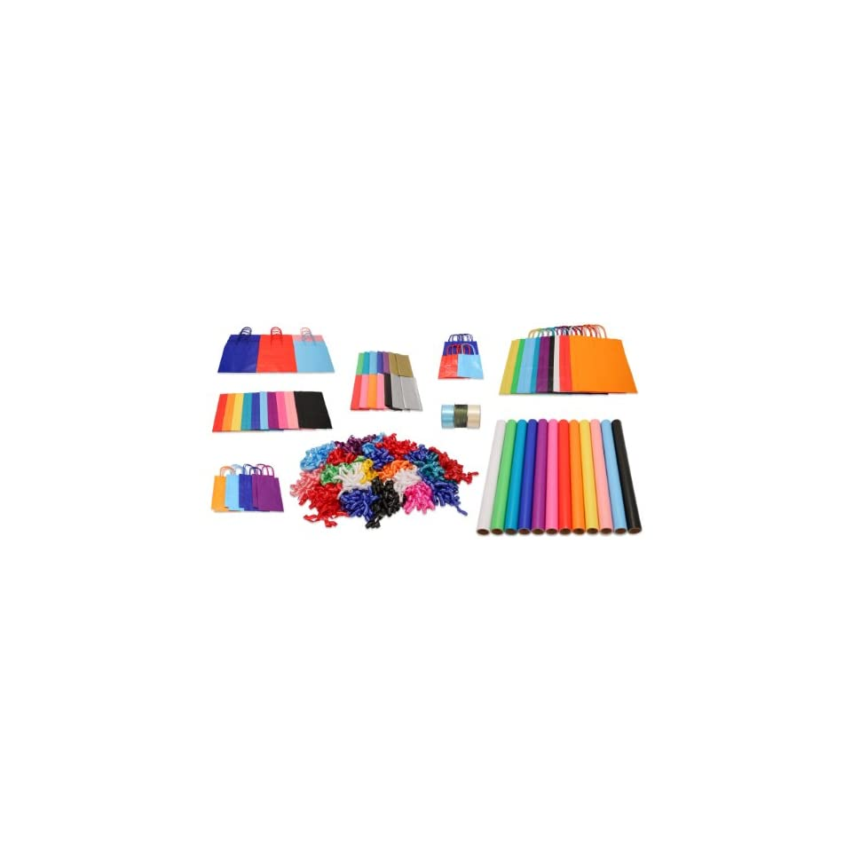 Giant All Occasion Solid Color Gift Wrapping Kit   Includes 44 Gift
