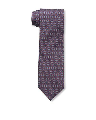 Rossovivo Men's Square/Round Print Tie, Rust/Blue