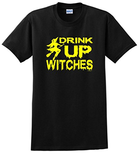 Drink Up Witches Funny Halloween T-Shirt Large Black front-898564