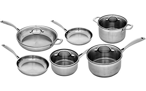 Swiss Diamond Premium PSL10SETSD1 Stainless 10 Piece Complete Kitchen Set, Gray