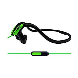 Urbanz SPORTZ Mic - Running Sports Gym Workout Neckband Headphones (Green - with Mic)