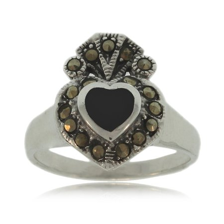 Black Onyx Heart Ring W/ Marcasite Silver Ladies Band