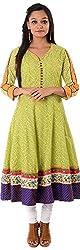 Kaashvi Creations Women's Cotton Anarkali Kurta (99901000000212-S, Green, Small)