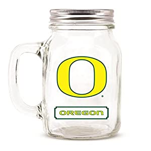 Oregon Ducks Ncaa Mason Jar Glass With Lid by DUCK HOUSE