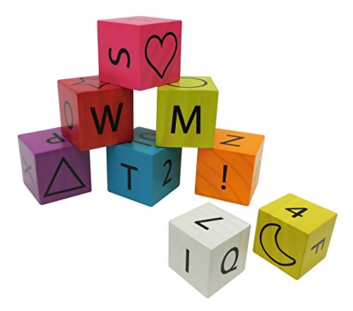 8pc Wood Block Set in Modern Brights - 1