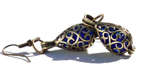 recycled-cobalt-noxzema-bottle-brass-filigree-teardrop-earrings