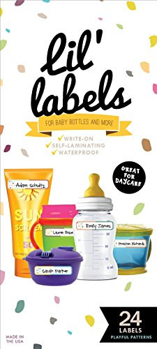 buy Bottle Labels, Write-On, Waterproof Labels for Baby Bottles for Daycare, 2 Bonus Gifts (Playful Patterns) for sale