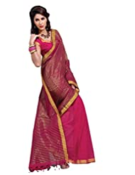 Fuschia Pink Color Cotton Blend Saree By Roop Kashish ( Martina )