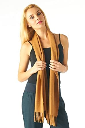 High Style 100% Cashmere Men and Women Solid Scarf (001, Camel)