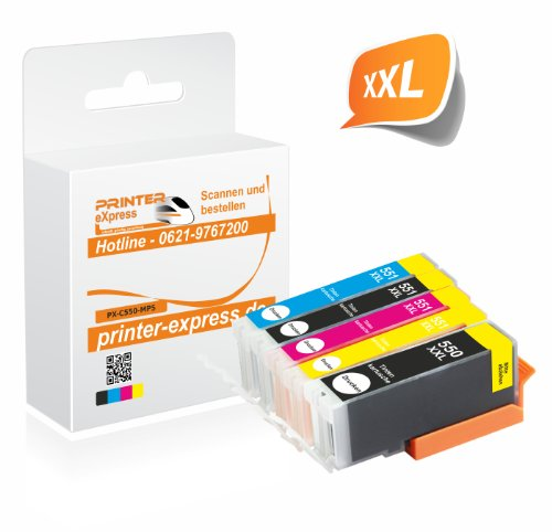 Printer-Express XXL Premium 5er Set Tintenpatronen mit Chip ersetzt Canon PGI-550, PGI550, PGI-550BK, PGI-550PGBKXL und CLI-551, CLI551 Druckerpatrone für Canon Pixma IP7250 MG5450 MG6350 MX725 MX925 / IP 7250 MG 5450 MG 6350 MX 725 MX 925 Drucker