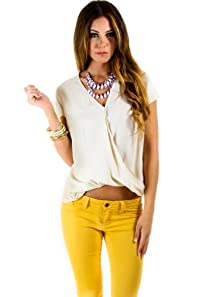Sleeveless Wrapped Blouse in Beige