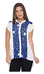 VeaKupia Women's Top (3429--L, White and Blue, Large)