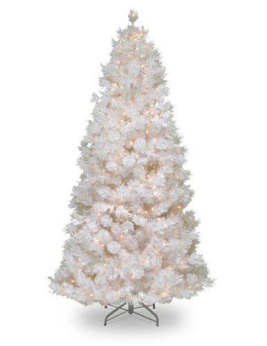 National-Tree-7-12-Wispy-Willow-Grande-White-Slim-Tree-Hinged-Silver-Glitter-500-Velvet-Frost-White-Lights-WOGW1-304-75