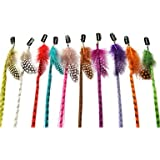 5 X Colored Grizzly Synthetic Hair Extensions with Feather Clip On.