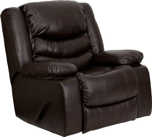 Bonded Leather Rocker Recliner Living Room Chair, Black / Br