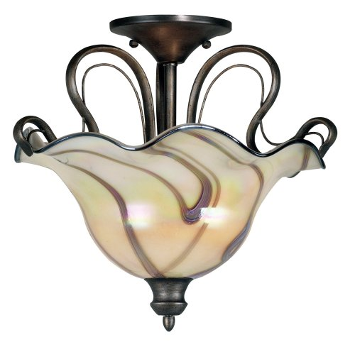 B000PRNJUQ Kenroy Home 90898TS Inverness One-Light Semi-Flush Mount, Tuscan Silver with Chrome Swirl Globe