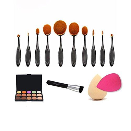10PCS Pennelli per viso Make Up Ovali Pro trucco cosmetico + 1PC spazzola della polvere + 15 colori Concealer + 2pcs spugna Sbuffi